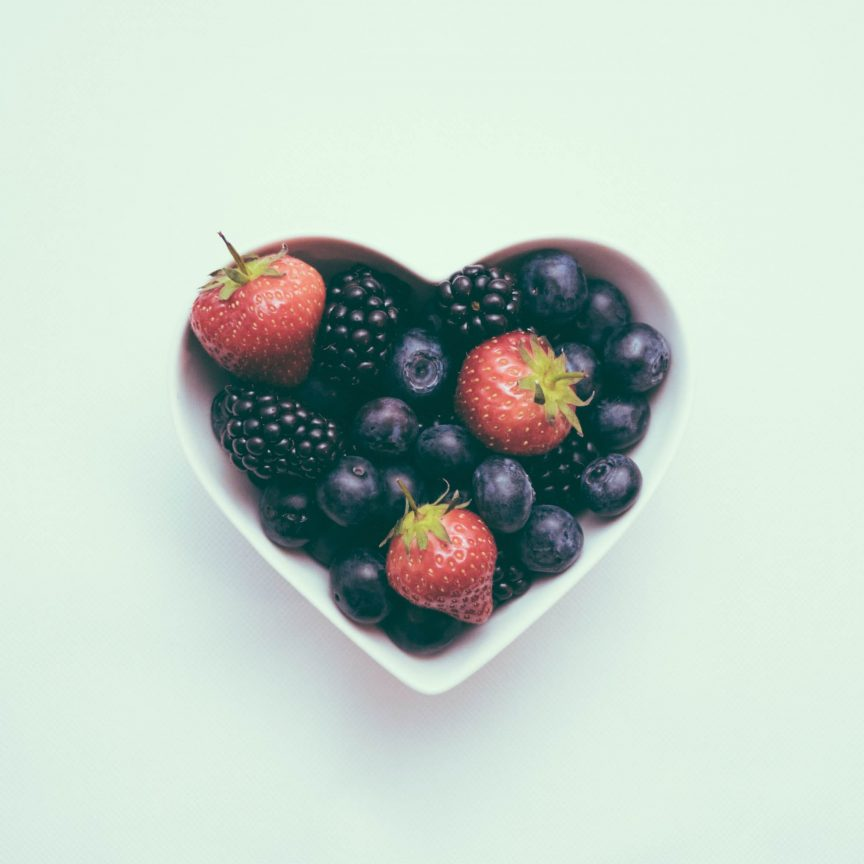 berries in a heart bowl